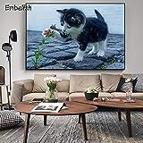 KWzEQ Imprimir en Lienzo Lindos Carteles de Gatos e imágenes de Pared para la decoración de la Sala de Estar decoración del hogar50x75cmPintura sin Marco