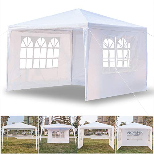 Diy Family Store Outdoor Canopy Tent, 10'X10' with 3 Sidewalls Party Wedding Event Tent Sturdy Steel Frame Waterproof Sun Snow Rain Shelter Gazebo Canopy Tent