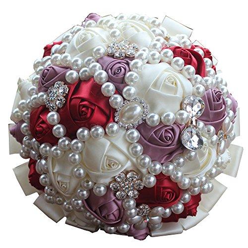 Quibine Bouquet de Mariage Bouquets de Roses Satin Fleur Demoiselle d'honneur Nuptiale Cristal Strass Perle, Dia: 21cm, Bordeaux+Pale Mauve+Crème