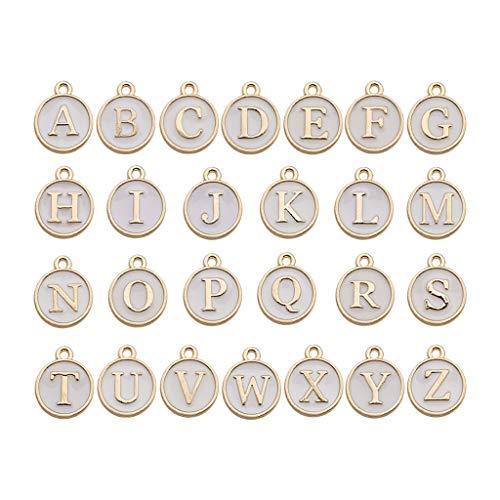 26 ciondoli smaltati con lettere dellalfabeto, a due lati, con ciondolo a forma di lettera dellalfabeto, per collane, bracciali, gioielli