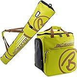 BRUBAKER Conjunto 'Super Champion 2.0' Bolsa para Botas y Casco de ski Junto a 'Carver Champion 2.0' Bolsa para un par de Ski - Verde Claro/Marrón - 170 cms.