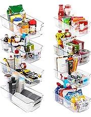 KICHLY Premium genomskinliga förvaringsfack för skafferi – set med 8 behållare (4 stora och 4 små organiseringsfack) förvaringsorganisatörer för kök, skafferi, skåp, bänkskivor, skåp – BPA-fri