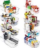 KICHLY - Cestini Organizzatori per dispensa Trasparente - Set di 8 contenitori (4 grandi e 4 piccoli) - Contenitori organizzatori per cucina, dispensa, armadietti, ripiani, Bagno - Senza BPA