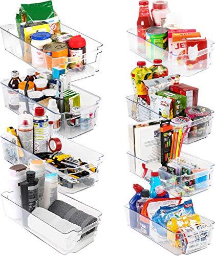 KICHLY Hochwertige vorratsschrank küche organizer - Set von 8 (4 große, 4 kleine Behälter) Stauraum für kühlschrank, Schränke, Regale, spülbecken, kosmetik Büromaterial, werkzeug organizer - BPA frei