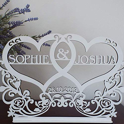 Personalised wedding sign, two names, date,MR &MRS, top table decoration, centrepiece, white colour, wedding stand, sign, plaque, display