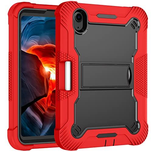 Tenfei Funda para el Nuevo iPad Mini 6 2021 de 8,3 Pulgadas Compatible con la Funda del iPad Mini 6Th Generation con Soporte y Soporte para el lápiz, Funda Protectora Resistente,Rojo