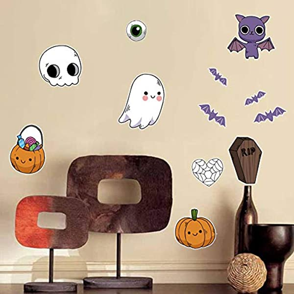JK 家具万圣节卡通蝙蝠幽灵头骨南瓜涂鸦门墙壁装饰贴纸贴花儿童房卧室幼儿园可移除剥离和粘幽灵