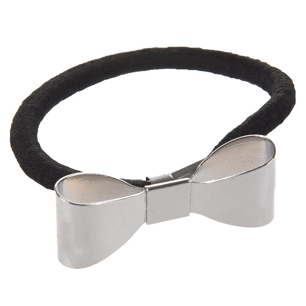 すべきに話す横にSODIAL(R) ファッション つや出し金属ちょうネクタイヘアバンドラップ ポニーテールホルダー ヘッドバンド(シルバー)