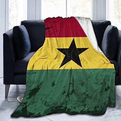 Manta de Lana, Manta Retro con Bandera de Ghana, Manta Suave y difusa para Hombres y Mujeres, Manta de Microfibra de Felpa para sofá Cama
