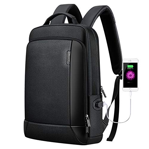 YPshell Note Laptop Bag for 851-036511 Top Grain Leather Business Breathable Man Backpack Size: 30 x 11.5 x 44 cm (Black)