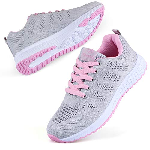 Youecci Zapatillas de Deportivos de Running para Mujer Deportivo de Exterior Interior Gimnasia Ligero Sneakers Fitness Atlético Caminar Zapatos Transpirable Rosa 41 EU