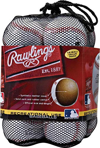 Rawlings OLB3BAG12 Official League Recreational Use Baseballs, Bag of 12, white