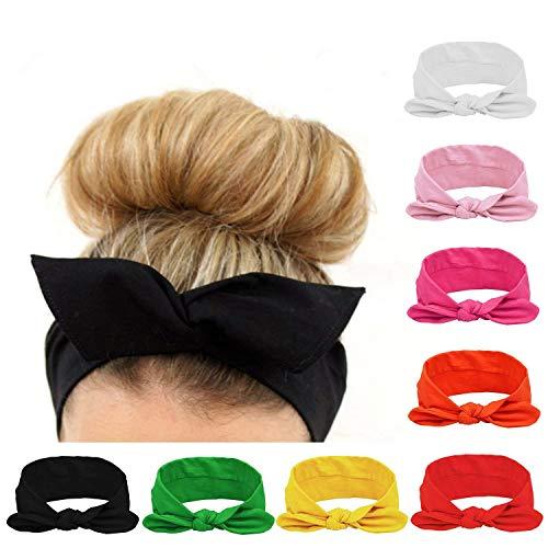 Turbantes Mujer Venda de Pelo floral Elástica Cinta Vintage Estilo Elástico Twisted Cute Para El Pelo Accesorio Para Cabeza (8PCS)