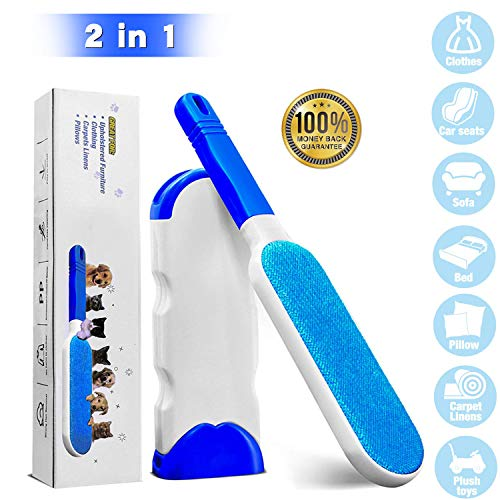 Aowentrade Pet Hair Remover Brush, Lint Remover Brush with Self-Cleaning Base, Efficient Double Sided Animal Hair Remover for Clothes, Sofa, Carpet, Car Seat (Blue)