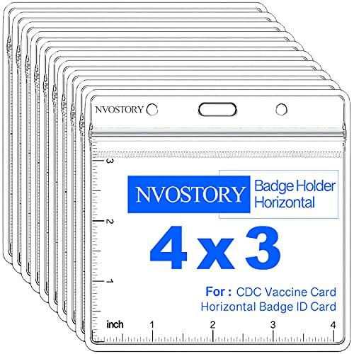 NVOSTORY 10 Pack Vaccine Card Protector Waterproof 4x3 in, CDC Vaccine Card Holder Clear Vinyl Plastic Sleeve with Waterproof Type Resealable Zip