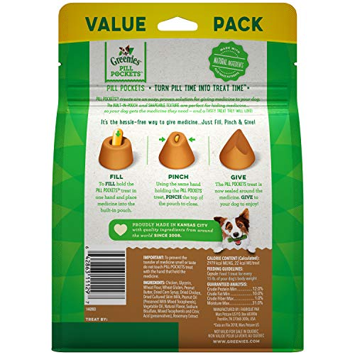 GREENIES PILL POCKETS Capsule Size Natural Dog Treats with Real Peanut Butter, 15.8 oz. Pack (60 Treats)