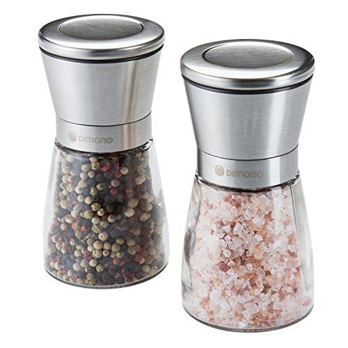 Dimono Edelstahl Gewürzmühlen Salzmühlen Pfeffermühlen Chilimühlen Mühlen-Set mit Keramikmahlwerk verstellbar