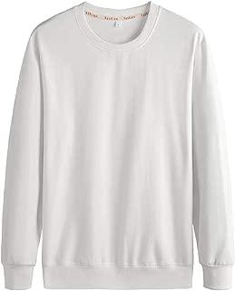 Mens Casual Long Sleeve Sweatshirts Crew Neck Plain T Shirt