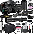 Nikon D3500 DSLR Camera with 18-55mm VR and 70-300mm Lens Bundle with 420-800mm Preset f/8 Telephoto Lens + 128GB Card, Tripod, Flash, and More (23pc Bundle) by Al's Variety