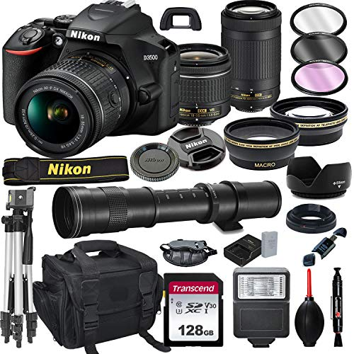 Review Of Nikon D3500 DSLR Camera with 18-55mm VR and 70-300mm Lens Bundle with 420-800mm Preset f/8...