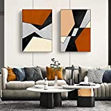 Póster de arte de pared nórdico abstracto geométrico negro e impresión de lienzo pintura decoración imagen para sala de estar dormitorio decoración del hogar sin marco-30x40cmx2
