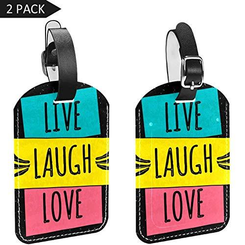 LORVIES Kleurrijke Woorden Live Lach Liefde Bagage Tags Reizen Labels Tag Naam Kaarthouder voor Bagage Koffer Tas Rugzakken, 2 PCS