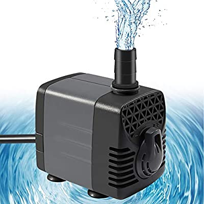 """Ankway pompe submersible 600L/H 10W améliorée avec tube en vinyle (1M/39""""), 50Hz brushless moteur pompe à eau avec 2 buses pour piscine aquarium poisson fontaine, avec cordon d'alimentation de 1,8 m"""