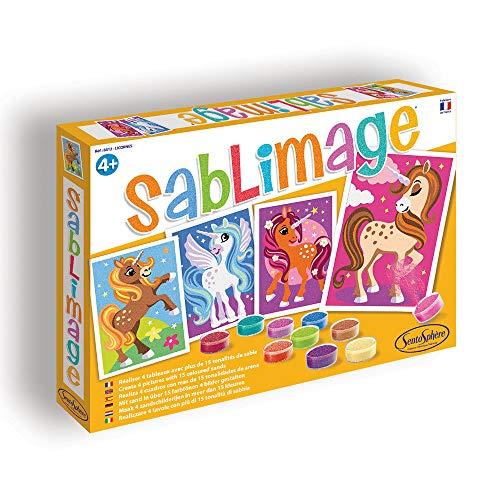 Sentosphere 3908812 Sablimage Sandbilder-Kreativset für Kinder, Motiv Einhörner, Orange