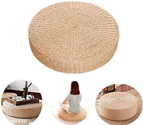 Kentop Cojín de Paja Cojín Hecho a Mano con Forma de cojín de Paja Tapete Redondo de Yoga para el Descanso de Meditación