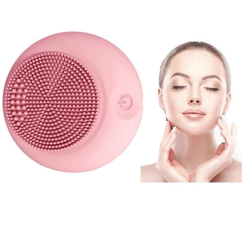 冬シャワーまっすぐにするクレンジング楽器、シリコンクレンジングブラシ、電動ウォッシュブラシ、シリコンフェイシャルマッサージ、ポータブル超音波振動、肌を清潔に保ち、防水、すべての肌タイプに適して (Color : Pink)