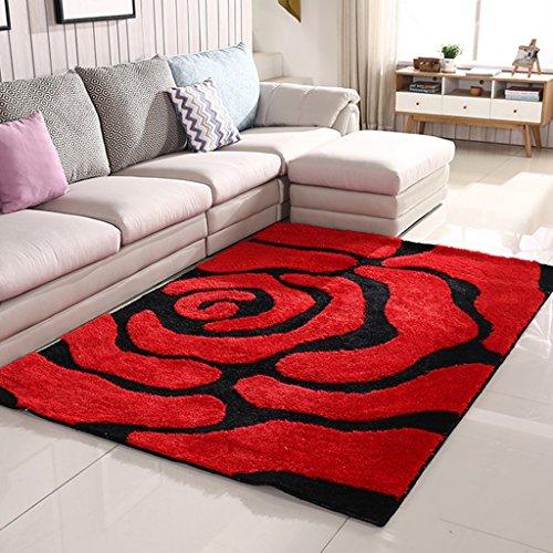 Moquettes tapis Tapis anti-dérapant de salon rouge Tapis de soie brillants épaissis Tapis de chevet de chambre non-pelucheux de style moderne Les tapis (Size : 120 * 170cm (47 * 67inch))