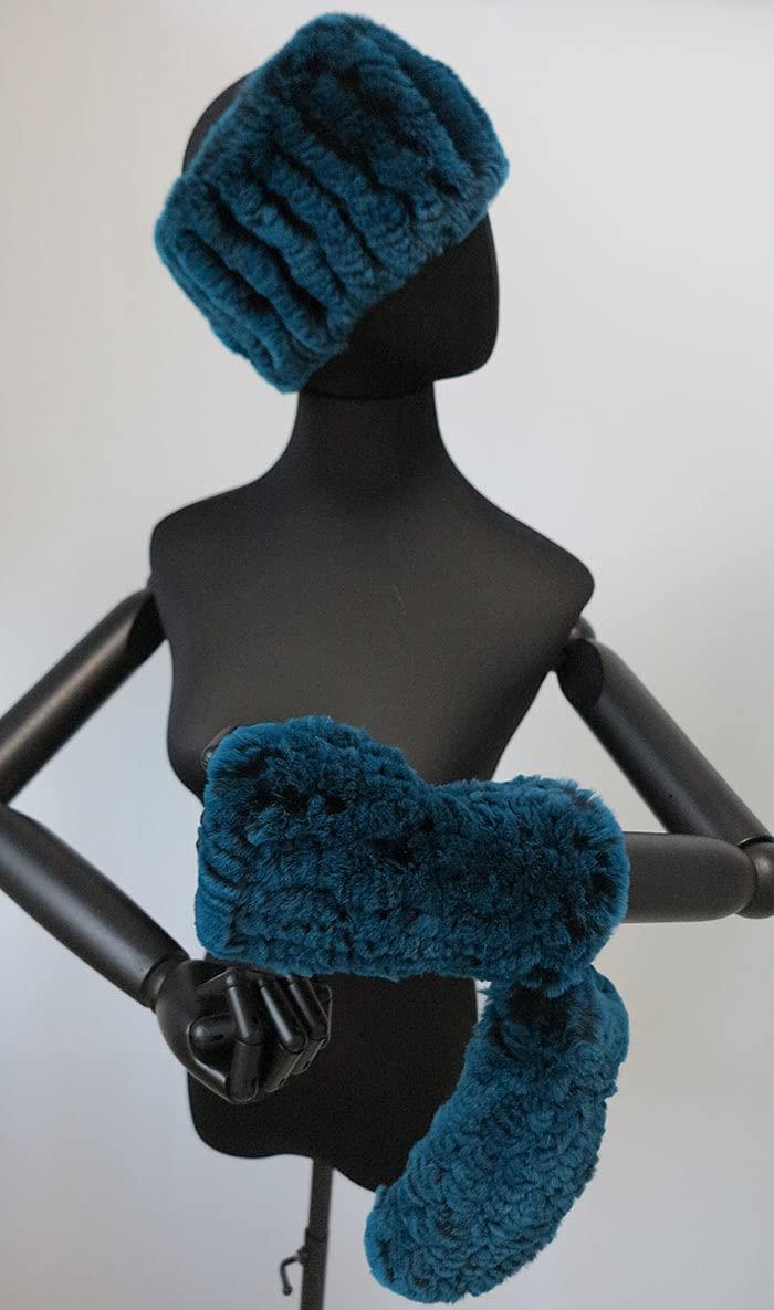 A set of Farm Raised Rex Rabbit Fur Headband and Gloves, Women Headband with Mitten, Headband Holder with Glove (Blue)