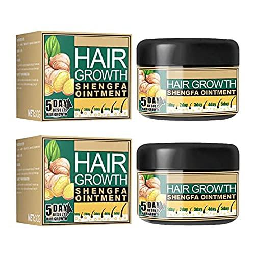 FXJC 1/2pcs Natural Hair Growth Ginger Cream,Ginger Germinal Oil,Ginger Hair Growth Cream,Hair Follicle Hair Care Essence Conditioner Cream (2pcs)
