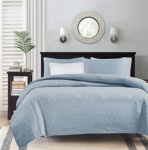 Madison Park Quebec Full/Queen Size Quilt Bedding Set - Blue, Damask – 3 Piece Bedding Quilt Coverlets – Ultra Soft Microfiber Bed Quilts Quilted Coverlet