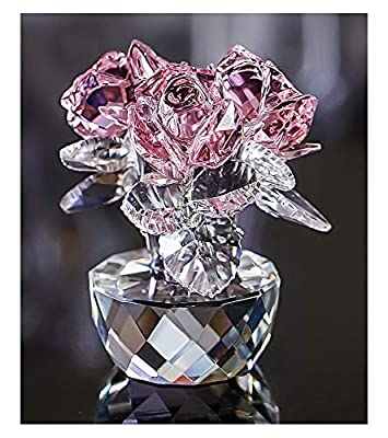 QF Pink Crystal Rose Bouquet Flower Figurine Glass Ornament Collection Mother's Day