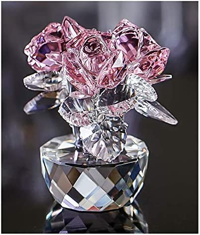 Pink Crystal Cash special price Rose Bouquet Flower Kansas City Mall Ornament Figurine Collect Glass