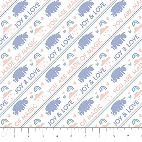 Disney Fabric Winnie The Pooh Eeyore Made of Magic in White Premium Quality 100% Cotton Fabric by The Yard