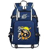 ZZGOO-LL Uzumaki Naruto/Sharingan USB Mochila Backpack Casual Impermeable Viaje de Negocios con Unisex-A