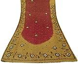 Photo de Vintage Indian Saree Georgette Main-Beaded Red Craft Deco Usagé Tissu Sari 5YD