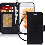 FYY Luxury PU Leather Wallet Case for iPhone 6/6s, [Kickstand Feature] Flip Phone Case Protective Shockproof Folio Cover with [Card Holder] [Wrist Strap] for Apple iPhone 6/6s 4.7' Black