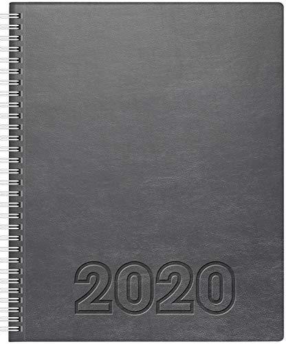 BRUNNEN 107616484 Buchkalender Manager Wt 7 - weektimer (2 Seiten = 1 Woche, 21 x 26 cm, Soft-Einband Lino, Kalendarium 2020, Wire-O-Bindung) grau
