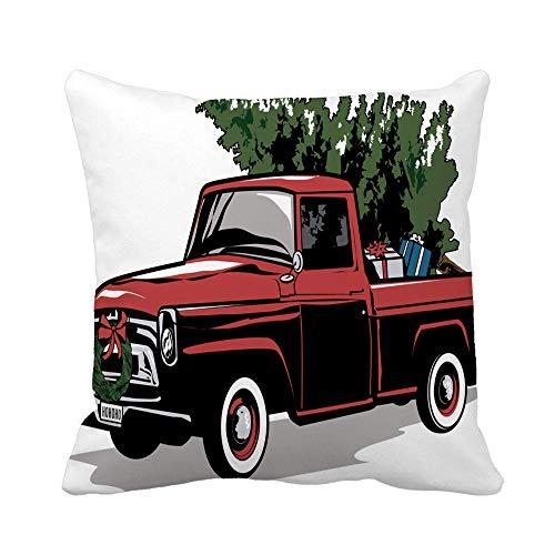 Pillow Case Camión De Navidad Rojo Árbol Vintage Pickup Viejo 1950 Duradero Cojine Funda Diseño Funda Cojín Súper Almohadones para Hogar Dormitorio Coche Sala