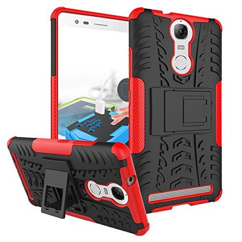 TiHen Funda Lenovo K5 Note/A7020 360 Grados Protective con Pantalla de Vidrio Templado. Caso Carcasa Case Cover Skin móviles telefonía Carcasas Fundas para Lenovo K5 Note/A7020 - Roja