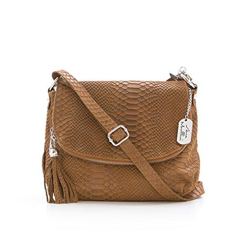 Anna Morellini-Sac á main en cuir- Fabriqué en Italie- 28x8x20cm-acheteur-à bandouillère- sac à épaule- sac à fourre tout - CUOIO (26)