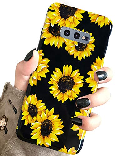 J.west Galaxy S10e Case Vintage Floral Cute Yellow Sunflowers Black Soft Cover for Girls/Women Flex TPU Silicone Slim Fashion Design Pattern Drop Protective Case for Samsung Galaxy S10E 5.8'