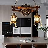 Lampe à suspension E27*2 Vintage bois Lustre industriel rétro réglable en hauteur en métal Abat-jour en verre Loft Salle à manger Café Hôtel Sous-sol Forme d'engrenage Décoration créative Plafonnier