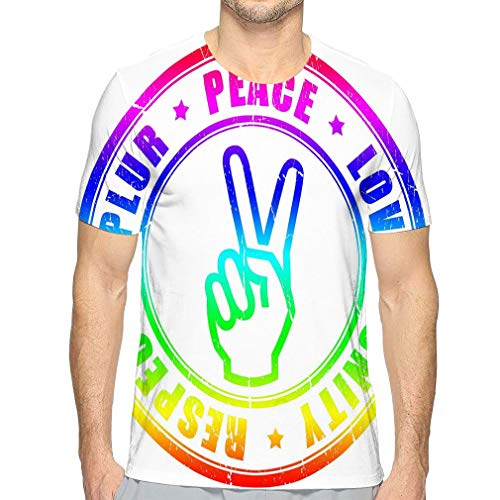 Shiyiqi7 Unisex Damen Sommer T-Shirts Graphic Peace Hippy Symbol Color Gr. M, Mehrfarbig