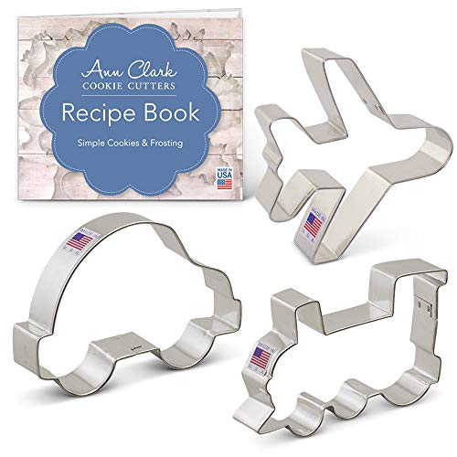 Ann Clark Cookie Cutters 3-Piece Transportation Cookie Cutter Set with Recipe Booklet, Airplane, Train Engine and Car