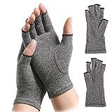 Par de guantes de compresión para artritis, guantes de compresión con dedos abiertos para mujeres y hombres, alivia el dolor de reumatoide y osteoartritis, color gris (M)