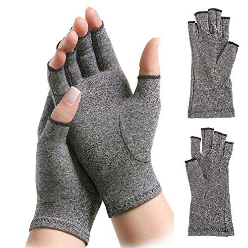 Par de guantes de compresión para artritis, unisex, con dedos abiertos, alivio del dolor de artritis reumatoide y artrosis, color gris